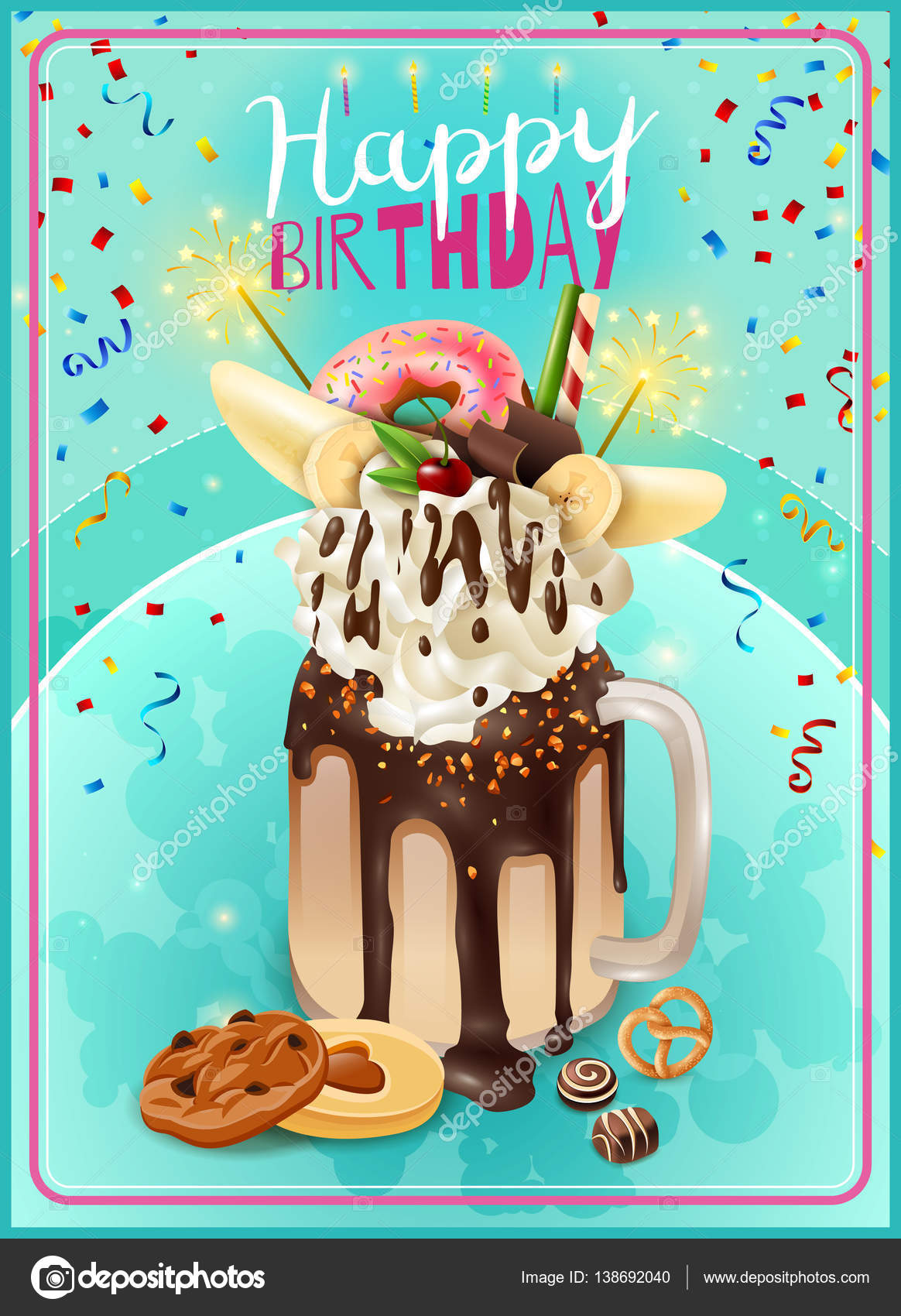 extreme freakshake birthday party announcement poster stock vector