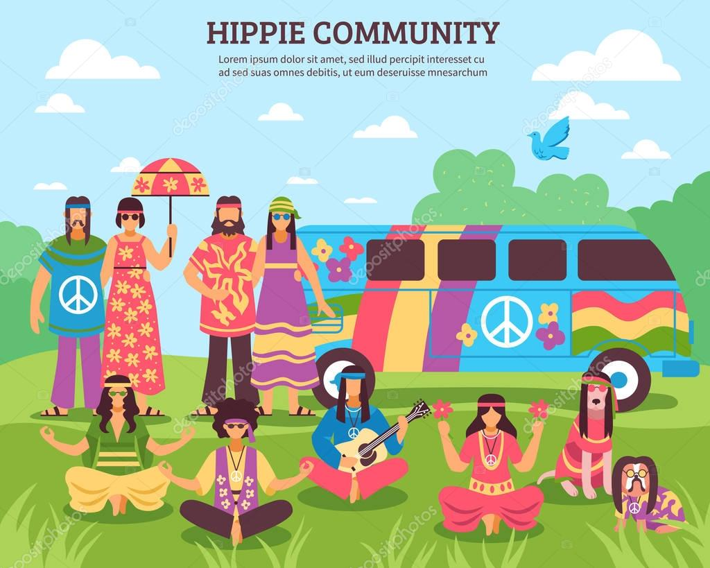 Hippie Community Outdoor Composition