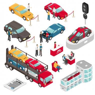 Auto Dealer Showroom Isometric Vector Illustration