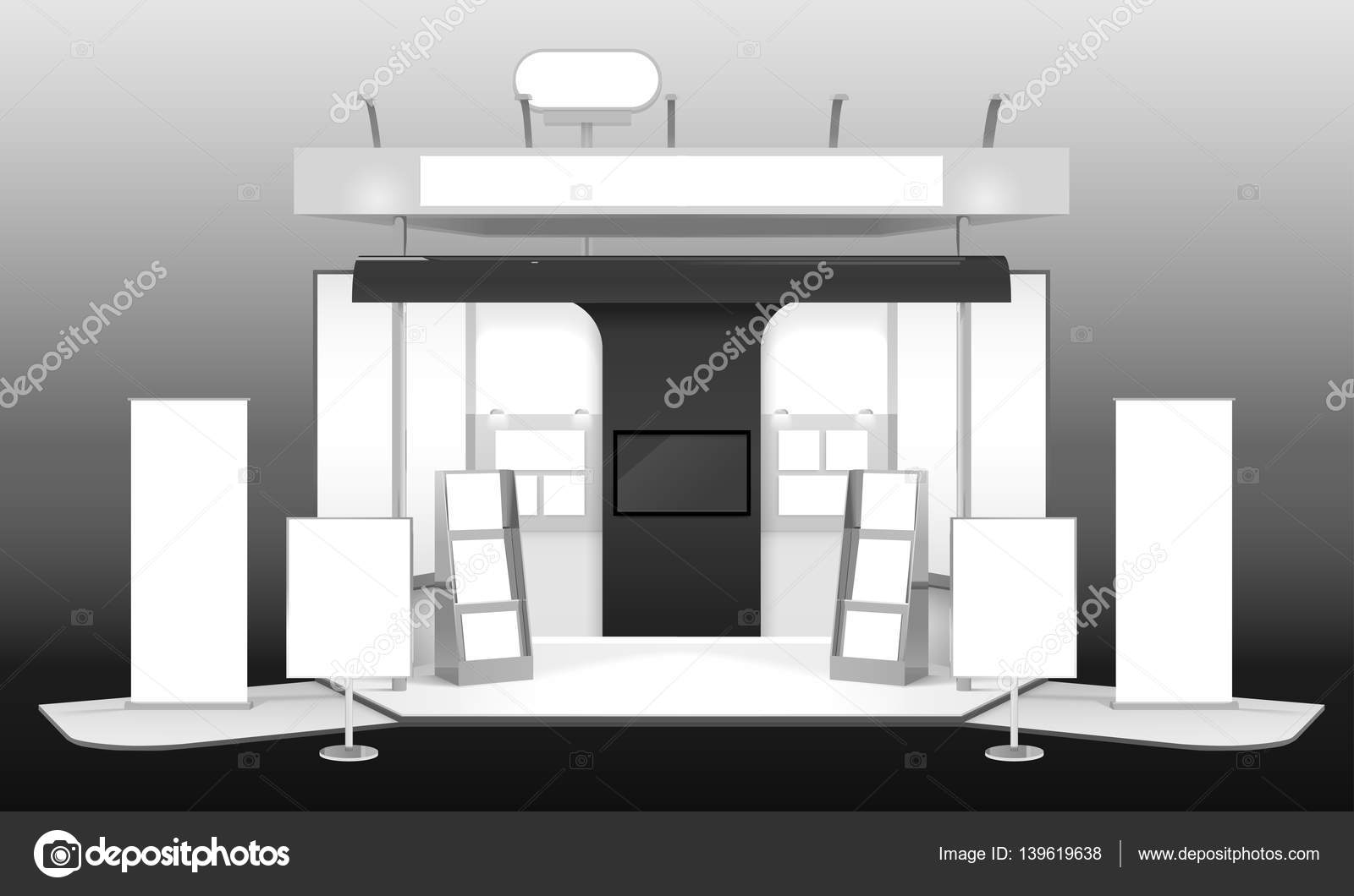 Exhibition Stand Design Illustrator : Exhibition stand d design mockup — stock vector