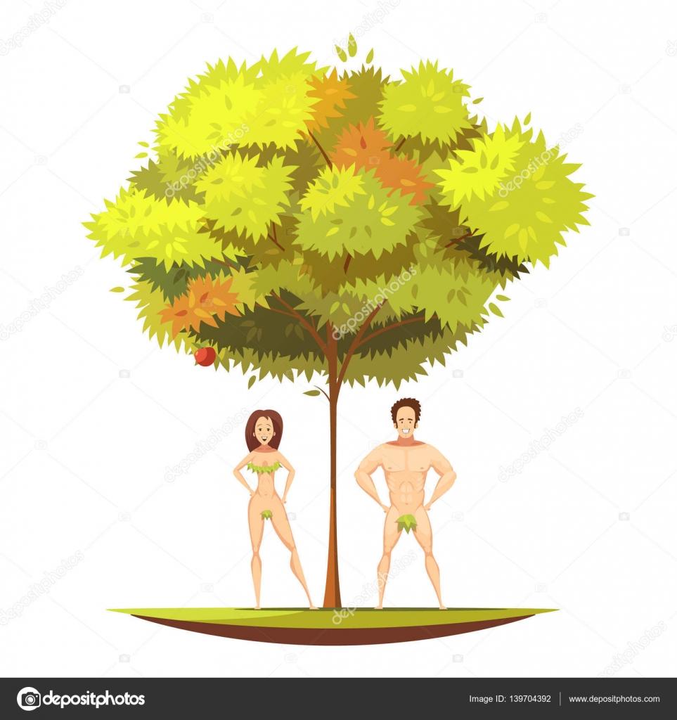 adam eve under apple tree cartoon illustration u2014 stock vector
