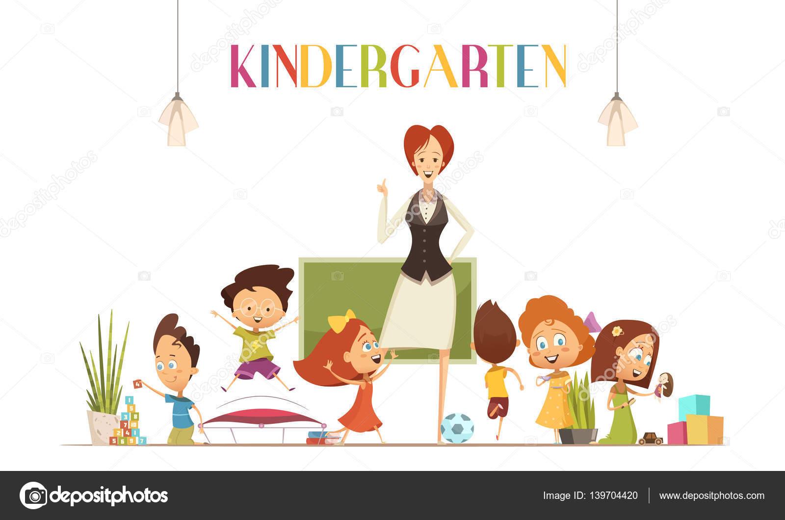 Maestro de jardín de la infancia con la ilustración de dibujos ...