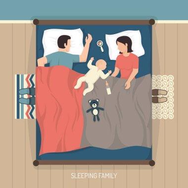 Sleeping Family With Nursing Baby