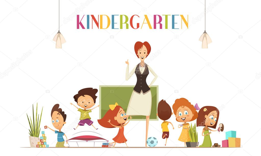 Kindergarden Teacher With Kids Cartoon Illustration