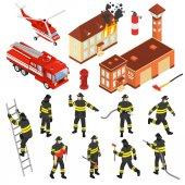 Sada ikon izometrické hasiči