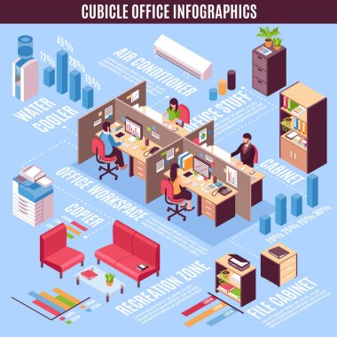Cubicle Office Infographics Isometric Layout