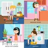 Gyerekek 2 x 2 tisztítás tervezési koncepció