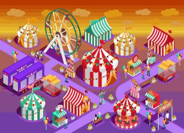 Amusement Park Circus Attractions Isometric Illustration