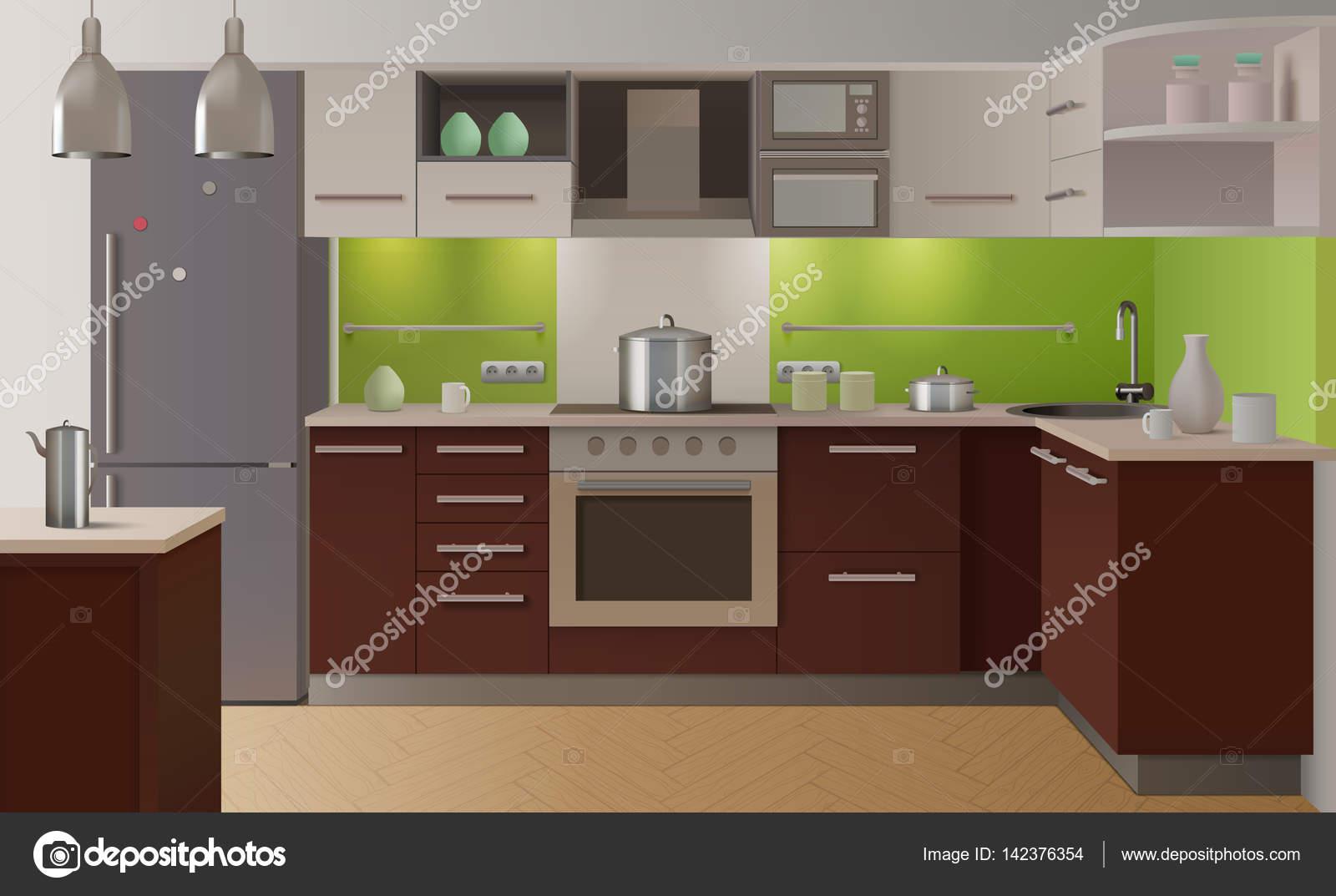 Interior De Cozinha Colorido Vetor De Stock Macrovector 142376354