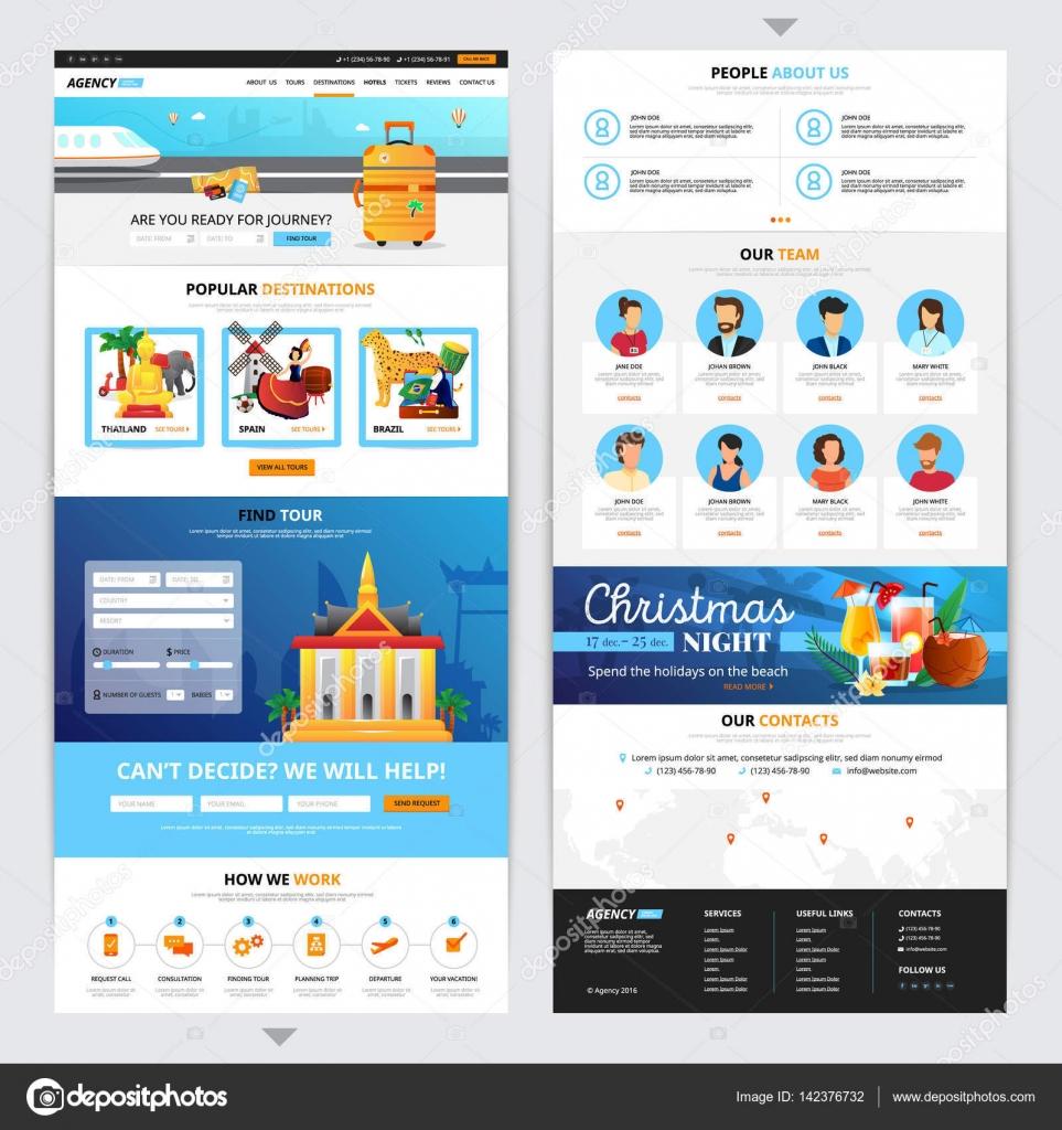 Reisebüro-Web-Seiten-Design — Stockvektor © macrovector #142376732