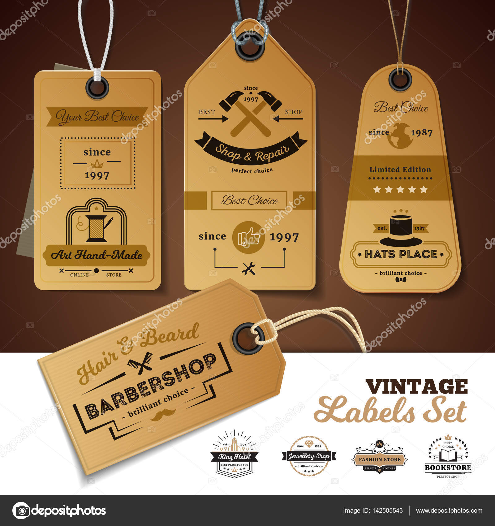1c375ab55c4 Set of vintage labels of shops with design of 3d cardboard tags with rope  isolated vector illustration — Vector by ...