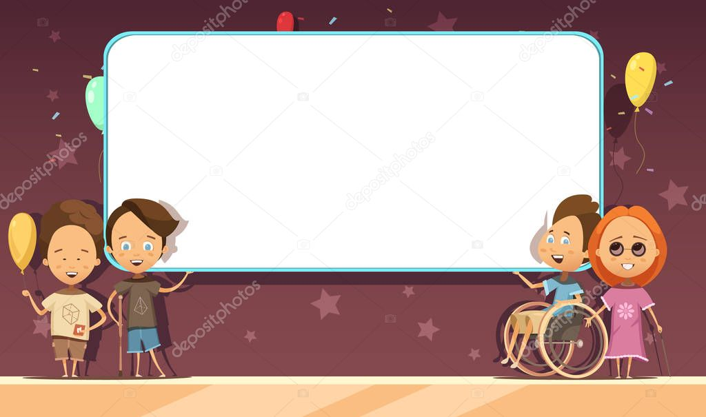 Diseño De Dibujos Animados De Niños Discapacitados Con