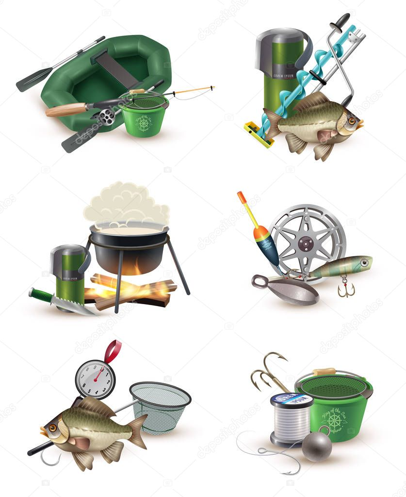 Fishing Gear Accessories 6 Icons Set