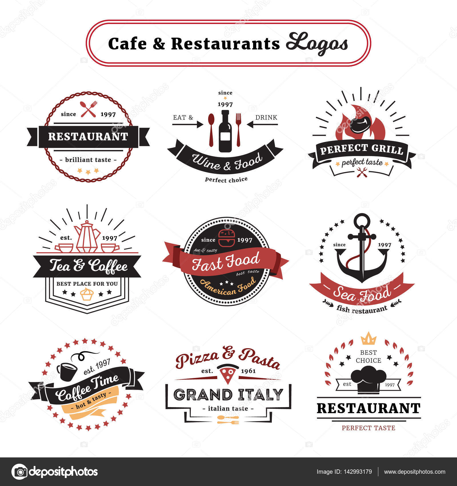 Cafe And Restaurant Logos Vintage Design Stock Vector C Macrovector 142993179
