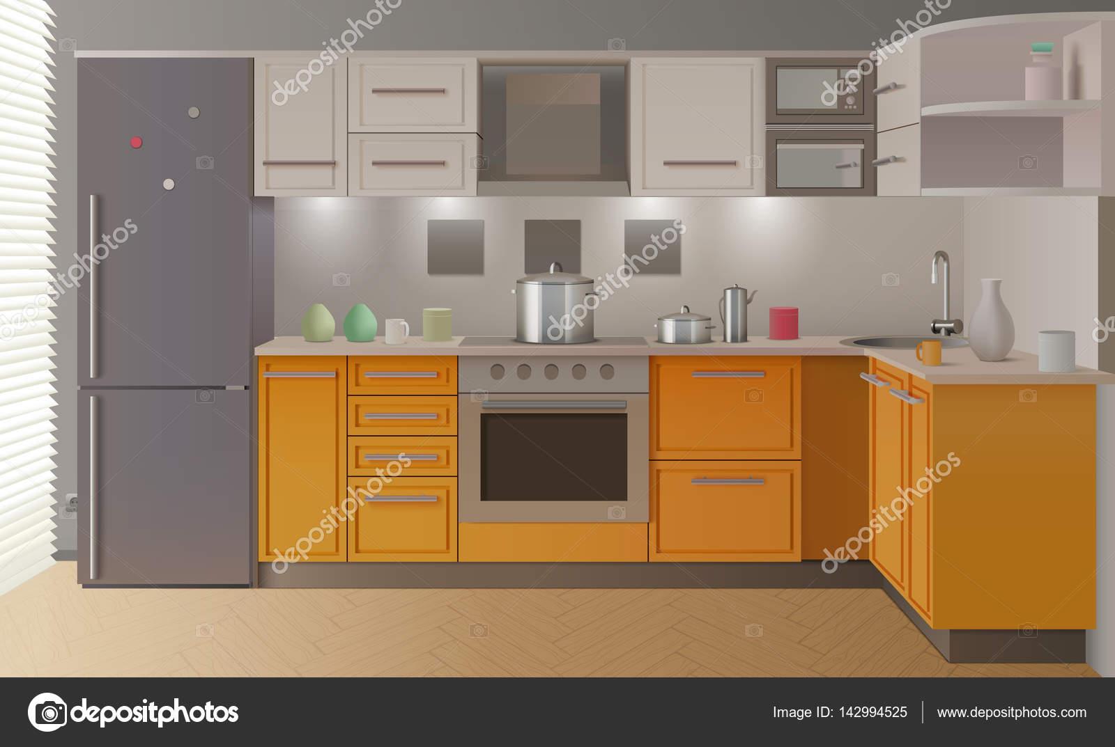 Cucina Moderna Arancione.Interiore Della Cucina Moderna Arancione Vettoriali Stock