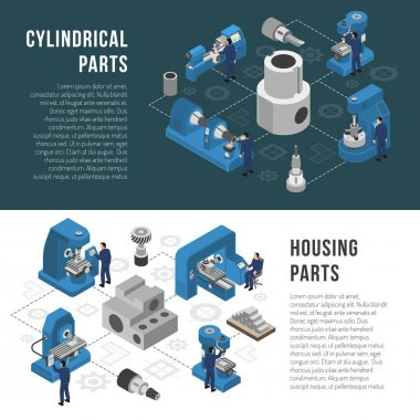 Heavy industry Production 2 Isometric Banners