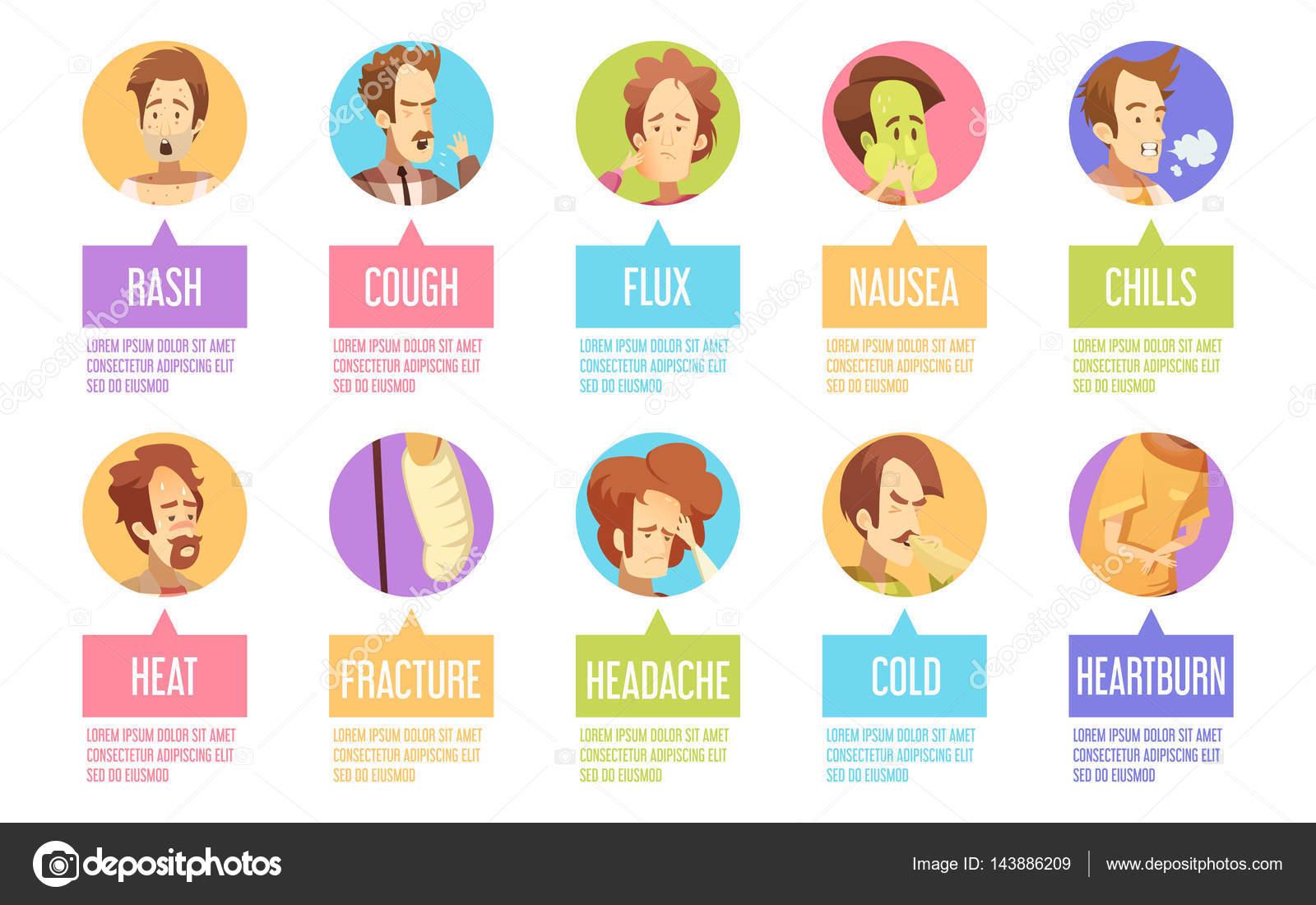Conjunto De Iconos De Dibujos Animados Enfermedad Hombre