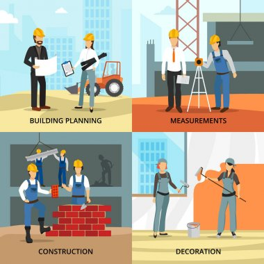 Building concept icons set with planning symbols flat isolated vector illustration stock vector