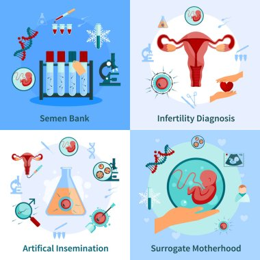 Artificial Insemination Concept Icons Set