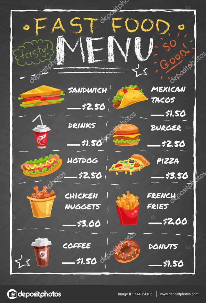 The Gallery For Fast Food Menu Template