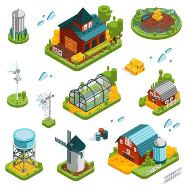 Farm rural buildings isometric elements set with built structures and single isolated storage and cloud icons vector illustration stock vector