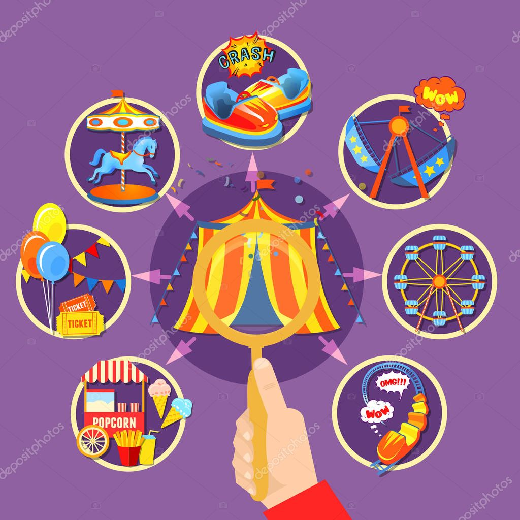 Amusement park collection vector illustration