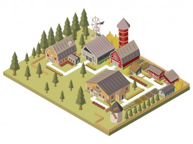 Farm Buildings Isometric Illustration
