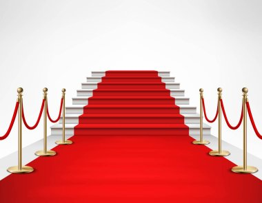 Red Carpet White Stairs Realistic Illustration