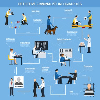 Police Experts Flat Style Infographics