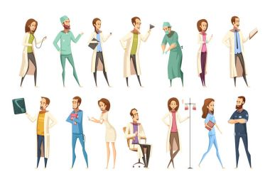 Nurse characters set in cartoon retro style with men and women in different activities isolated vector illustration clip art vector