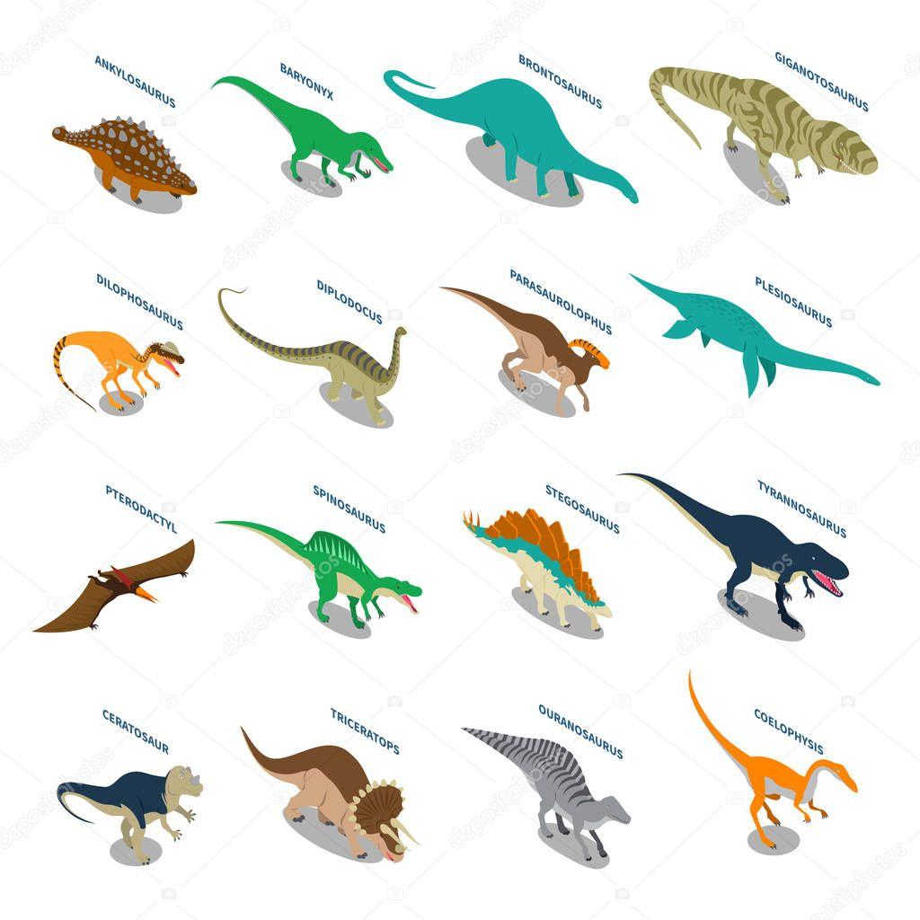 Dinosaurs Isometric Icons Set