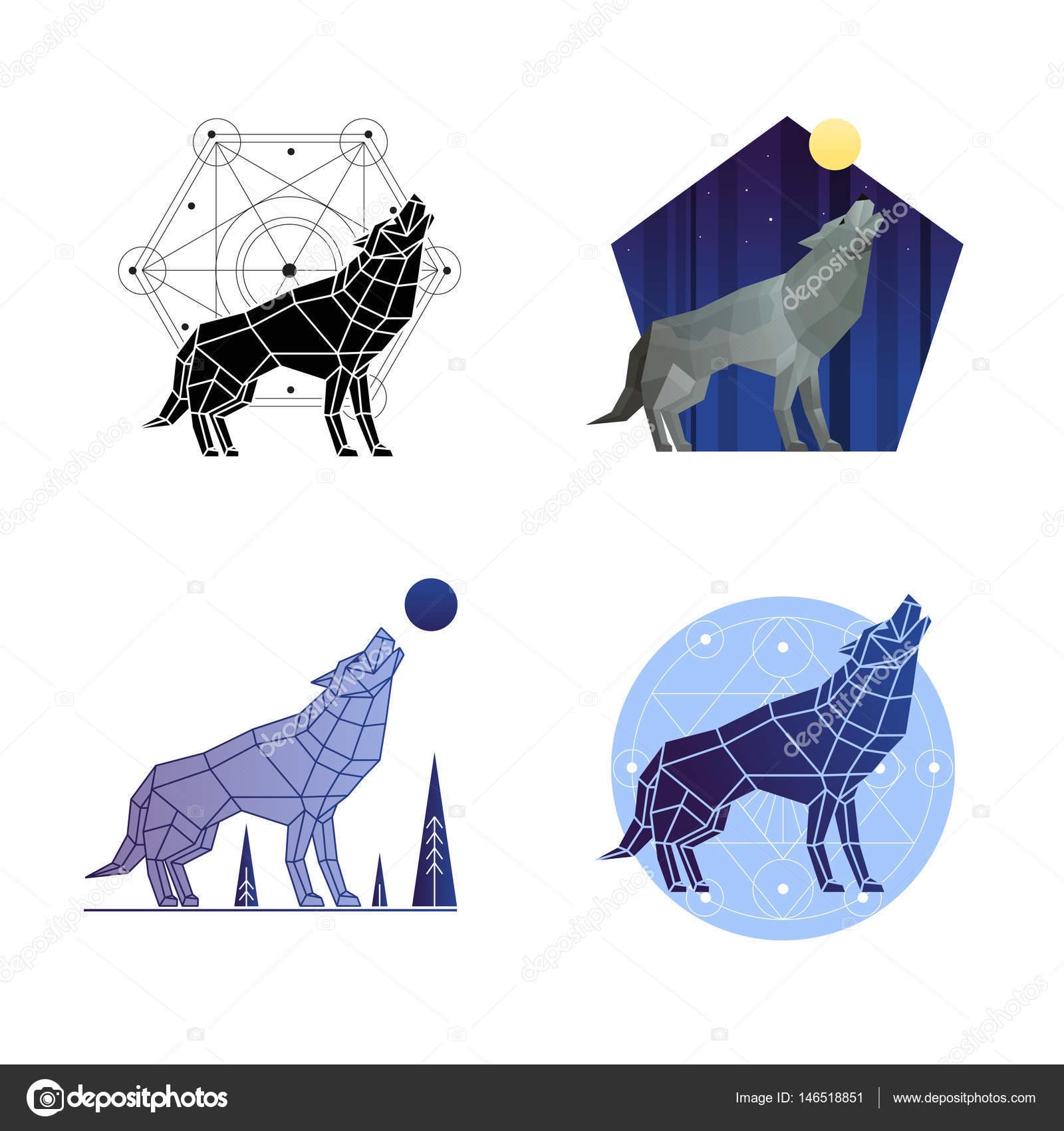 Heulender Wolf Set — Stockvektor © macrovector #146518851