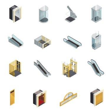 Elevator Isometric Elements Set