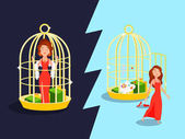 Photo Marriage Golden Cage Concept