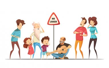Hilarious funny family life moments with singing and laughing friends retro cartoon comic situation vector illustration clip art vector