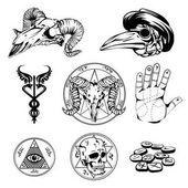 Fotografie Sketch Set Of Esoteric Symbols And Occult Attributes