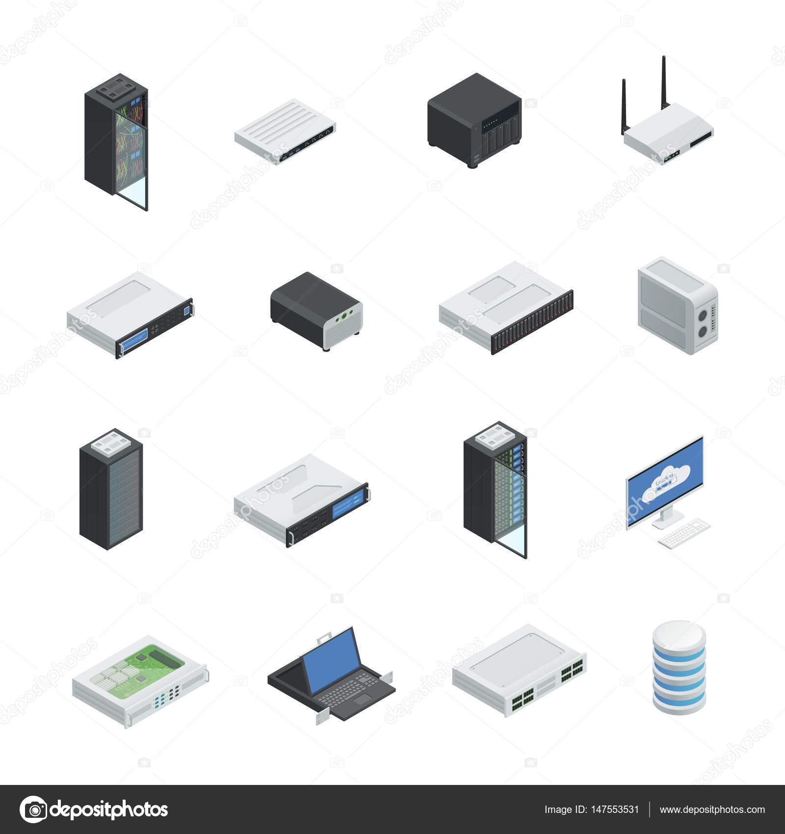 Conjunto de icono de centro de datos — Archivo Imágenes Vectoriales ...