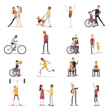 Disabled People Icons Set