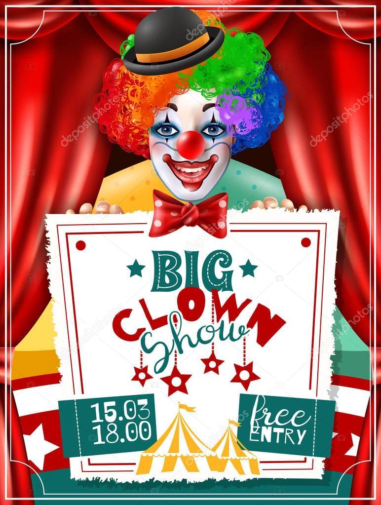 Circus Clown Show Invitation Advertisement Poster