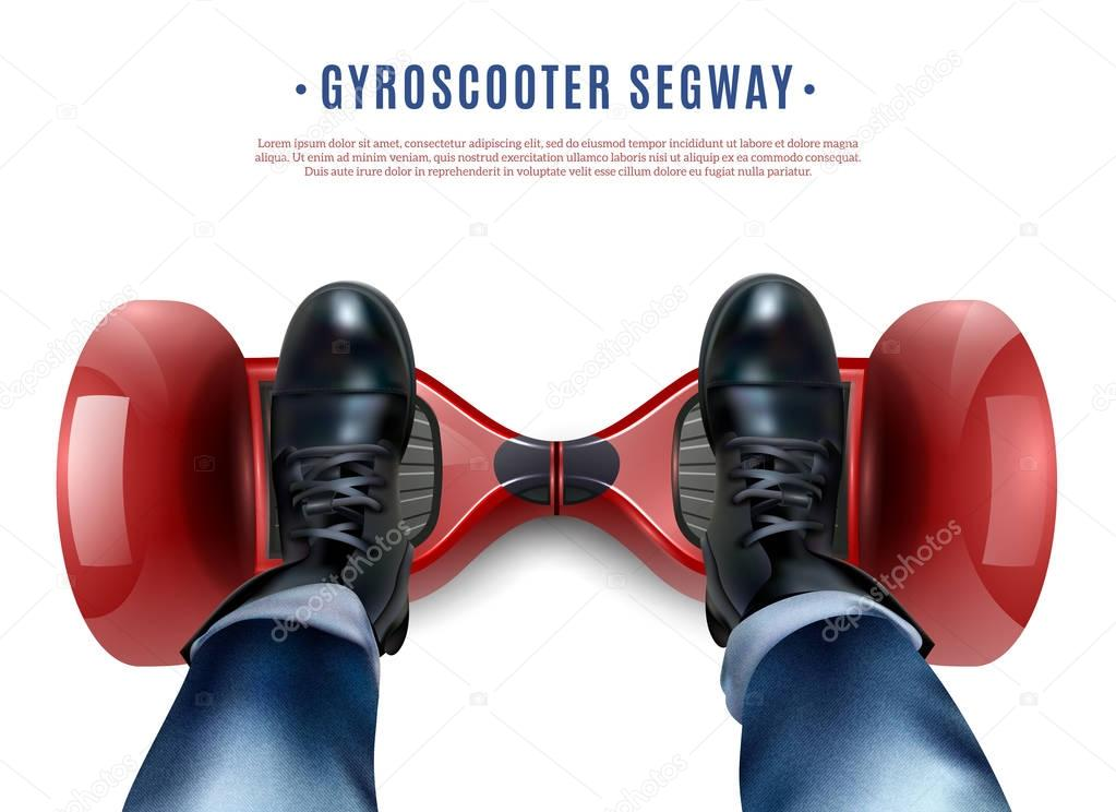 Gyro Scooter Feet Realistic Top View