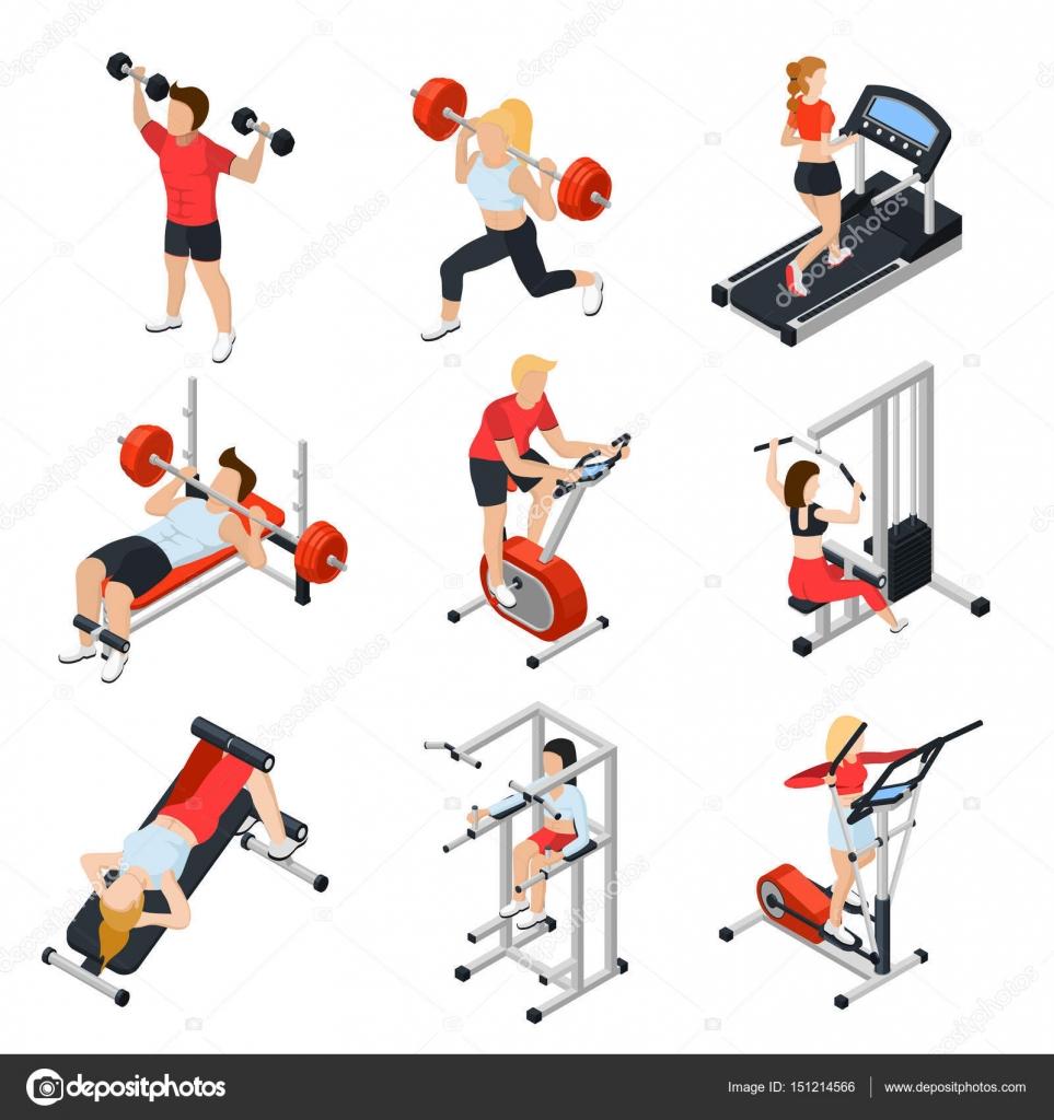 Genialny Izometryczne zestaw siłownia — Grafika wektorowa © macrovector YM96