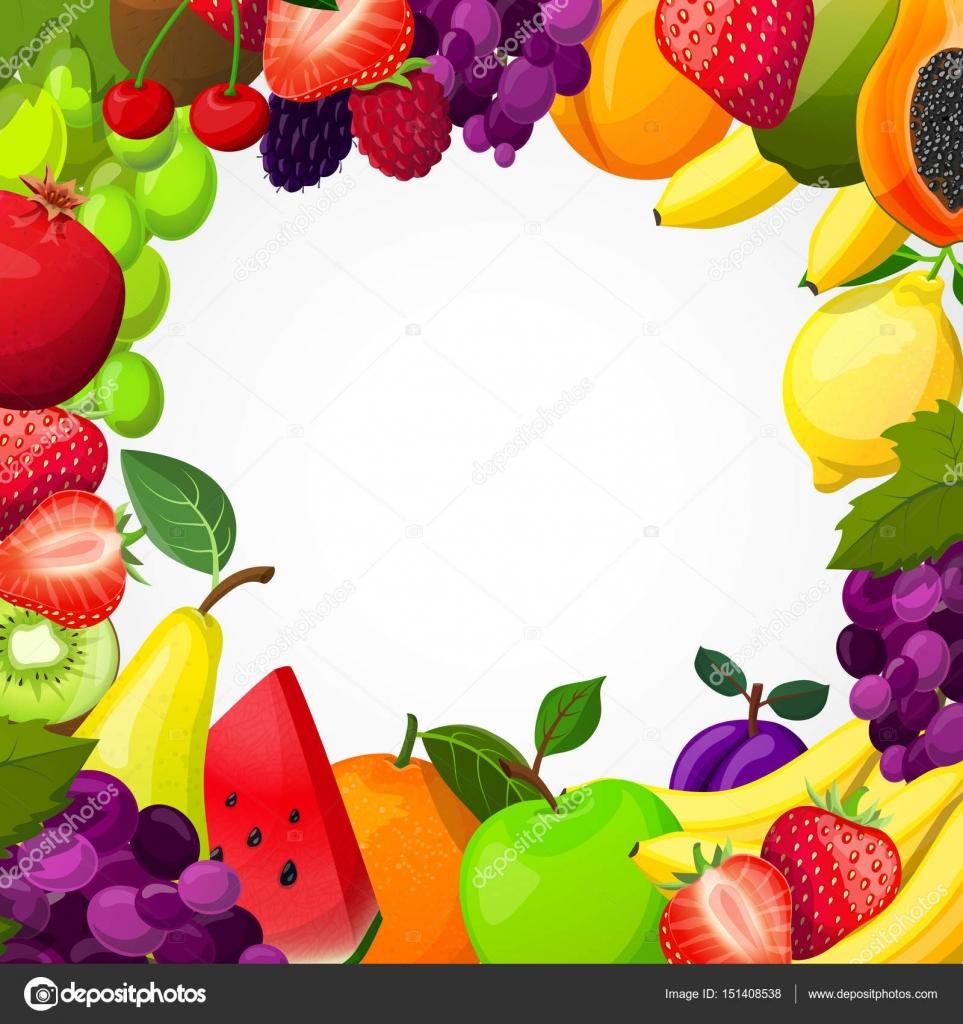 Früchte-Frame-Vorlage — Stockvektor © macrovector #151408538