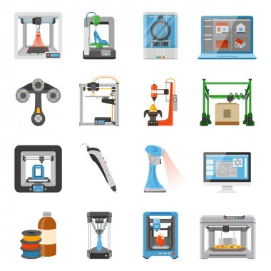 3D printing icons set of monitor with software on screen details and consumables for scanners and printers flat vector illustration clip art vector