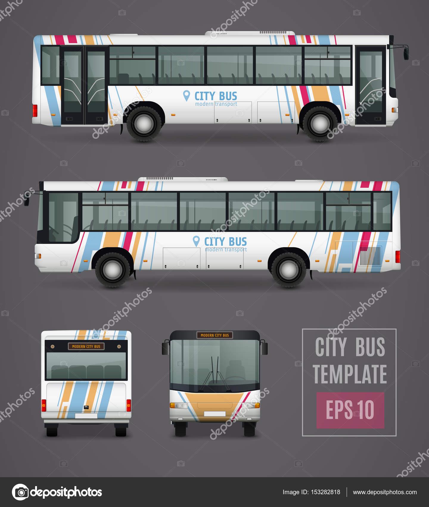City-Bus-Vorlage im realistischen Stil — Stockvektor © macrovector ...