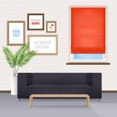 Fotografie Interiér pokoje nábytek a okenní rolety
