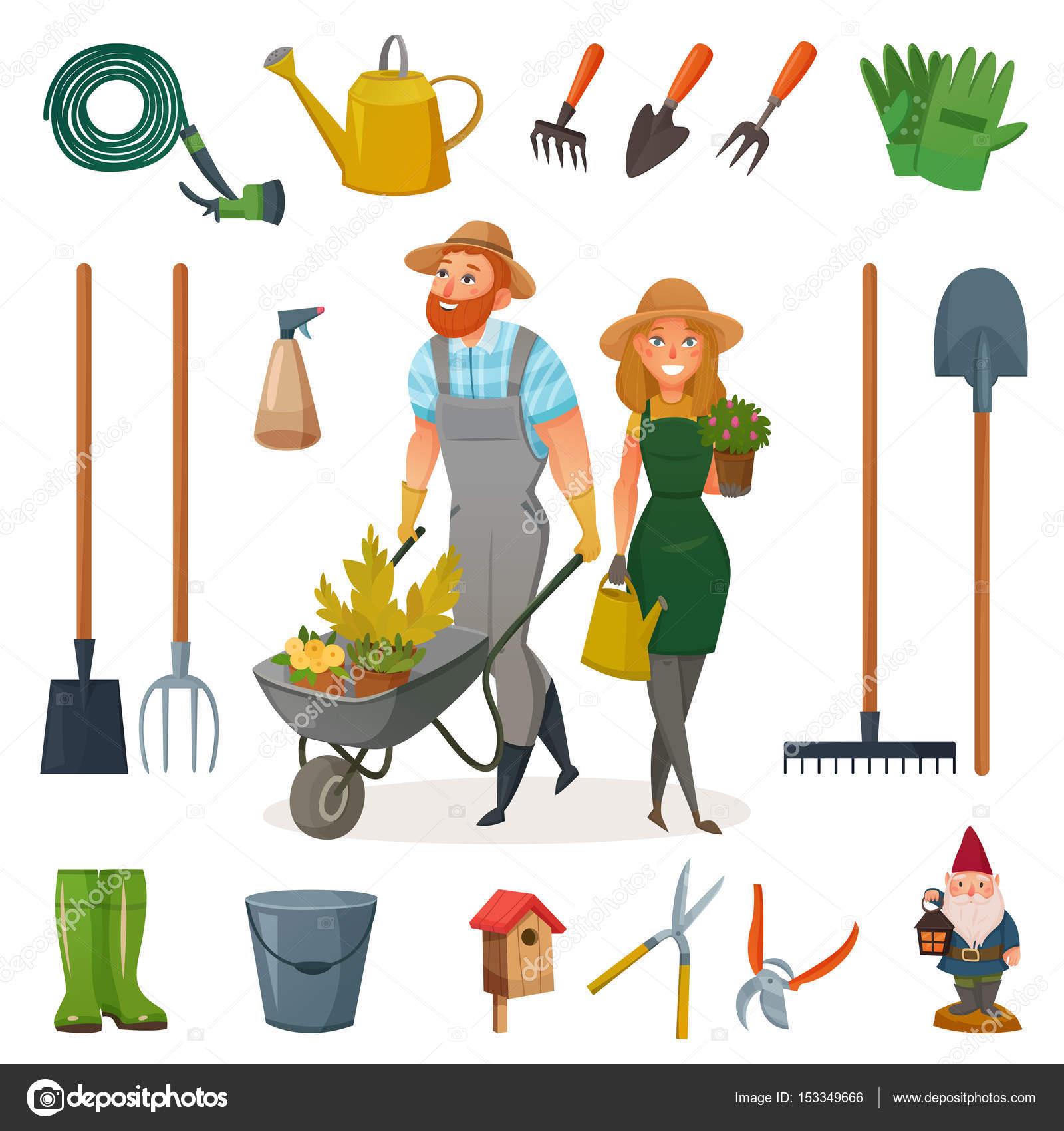 Insieme dell 39 icona di giardinaggio del fumetto for Trabajo jardinero