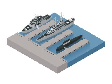 Military Boats Isometric Composition