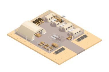 Beige Military Isometric Composition