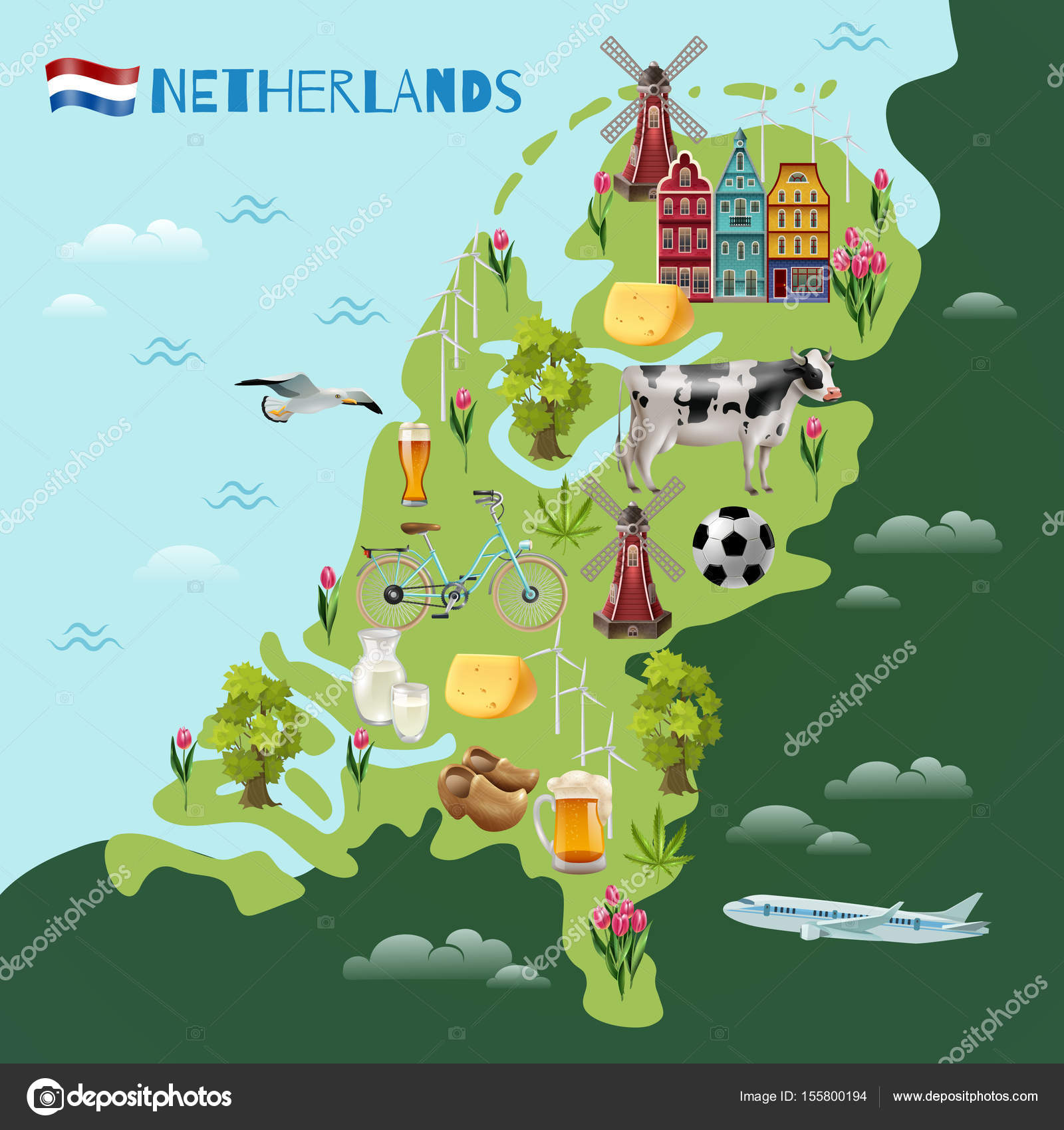 holanda mapa turistico Holanda viajes culturales mapa Poster — Vector de stock  holanda mapa turistico