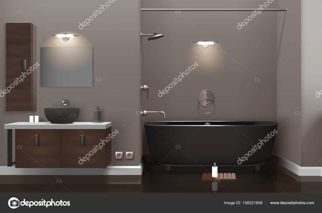 Bagno Marrone Scuro : Realistico bagno interior design u vettoriali stock macrovector